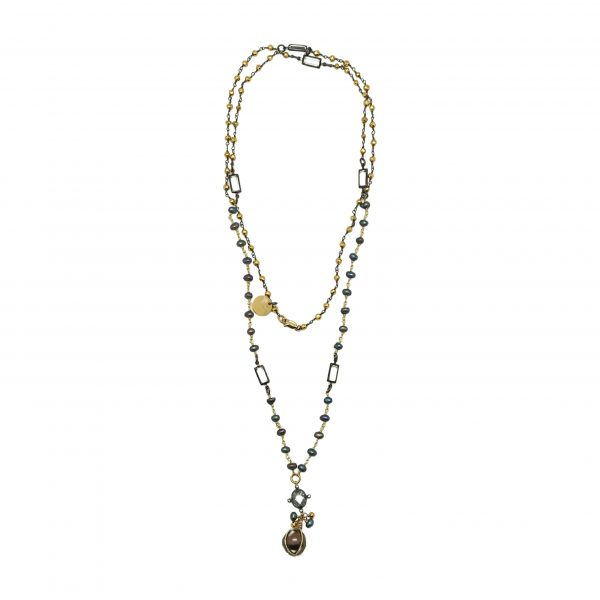 Freshwater Pearl, Pyrite, Necklace